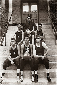 Native_American_basketball_team_with_swastika